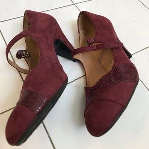 Naturalizer Layton Wine 7M suede Mary Janes